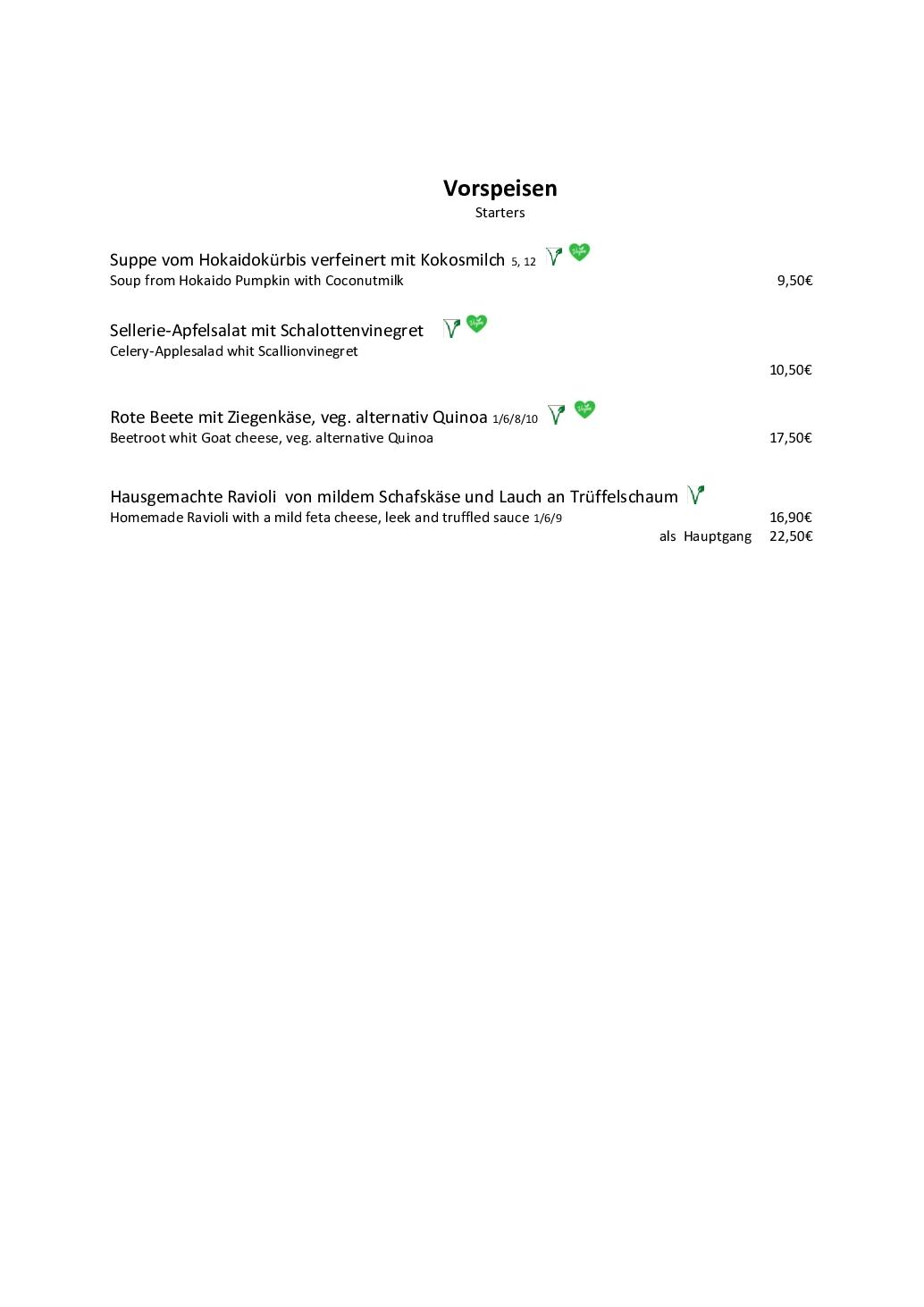 Speisekarte Seite 1